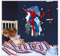 Wholesale Free Express x96cm quot x38 quot AY8003 Wallpaper D Spiderman Wall Stickers UV Frosted Kids Rooms Decor Quality SGS Removable PVC Mixable