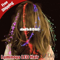 Wholesale Luminous Light Up LED Hair Extension Flash Braid Party Hair Glow by fiber optic For party christmas free dropshipping