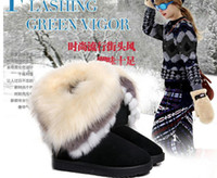 Wholesale 2014 New Fashion Autumn and Winter Rabbit hair fringed warm skid Snow boots Women s Shoe