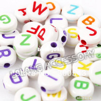 Wholesale 1500pcs Retail Print Letters Mixed Acrylic White Spacer Beads Fashion New Loose Bead Fit DIY