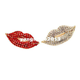 Free Shipping 2013 Hot sale Shiny Rhinestone Mouth lips Brooch Pin,Women Corsage Sexy Red Lips Brooches Wholesale
