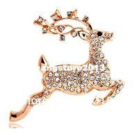 Wholesale Christmas Gifts Top quality Alloy K Gold Austrian Crystal Reindeer Brooch Rhinestone Deer Brooch Pin For Women