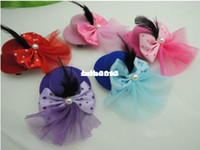 Christmas   Wholesale - Free shipping 20pcs ('5 Color) kids party cute bow Feathers lace mini top hat for child hair clips Hair Accessories