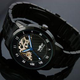 2018 Winner Men Full black Steel Watch Skeleton Mechanical Man Dress Watch For Men Casual Wristwatch