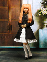 Wholesale Gothic Black Suede Lace Chain Bow Lolita Coat skeleton r58 u7 lsv