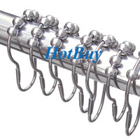 Wholesale Polished Satin Nickel Rollerball Shower Curtain Rings Curtain Hooks