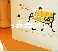 Wholesale casual rattan chair cat cartoon rustic wall stickers rustic decor wall stickers