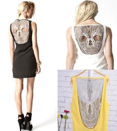 Wholesale 1pcs Bestselling Womens Punk dress Lady Gothic Hollow Back Fitness Vest Clubwear Skull Dress colors