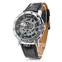 Wholesale Luxury Men s Automatic Mechanical Black Leather Band Wrist Watch with Black or White Dial Clock Hours