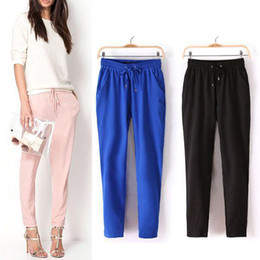 Wholesale S5Q New Fashion Woman Drawstring Elastic Waist Chiffon Harem Pants Size AAABZA