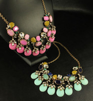 Wholesale New Arrival Vintage Style Bronze Alloy Chain Crystal Rhinestine Flower Drop Resin Gem Necklaces pieces