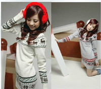 womens jumpers - Soft Womens girls Sweater dresses knit Pullover Jumper Top Snowflake Deer Long Sleeve