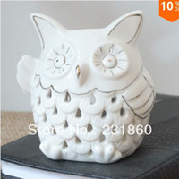 Wholesale OWL Ceramic Fragrance Oil Burners Lavender Aromatherapy Scent Candle Essential