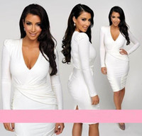 Reference Images V-Neck Chiffon Kim Kardashian Inspired White Long Sleeve Sheath Sexy Cocktai Dresses Deep V-Neck Shrug Knee Length Chic Party Prom Dress Homecoming Gowns