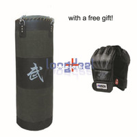 Wholesale Free Gift New Lb Fitness Training Unfilled Boxing Punching Bag Punch Bag Empty With Boxing Gloves Black
