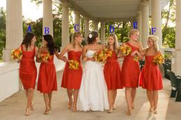 Wholesale Vente Hot Six styles classique genou Longueur jeunes Robes de demoiselle d honneur Party Dress Sash manches en taffetas robe formelle pour le mariage