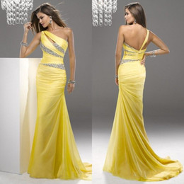 Wholesale 2014 Sexy Pleats Bead Mermaid Chiffon Party Prom Dresses Evening Gowns With One Shoulder Zipper Back Court Train