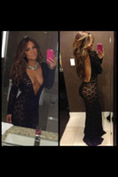 Wholesale Sexy Black Lace Long Sleeve Celebrity Dresses Deep V Neck Backless Chic Evening Gowns Long Prom Dress Sheath Naked Back Exquisite