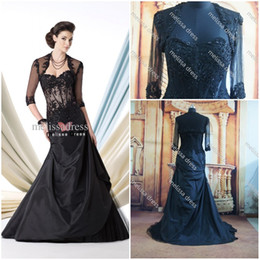 Wholesale Real Photos Fashionable Sweetheart A Line Floor Length Balck Draped Lace Applique Formal Party With Jacket Mother Of Bride Dress