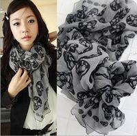 Wholesale European punk style women Cool Big Skull Head Skeleton silk scarves Neck Wrap Shawl Warm Cotton voile colors