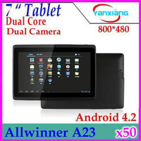 Wholesale DHL NEW inch android Capacitive Screen M GB GB dual Camera WIFI Q88 Dual Core allwinner A23 tablet pc RW MID