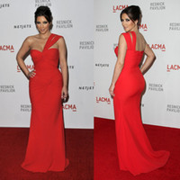 Reference Images Floor-Length Chiffon Amazing 2014 Hot Sale Prom Gown Dresses Kim-Kardashian Sexy Mermaid One-Shoulder Red Chiffon Pleat Floor-Length Evening Dresses Formal Dress
