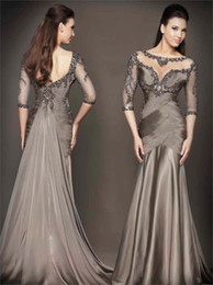 Wholesale 2014 Sexy Bead Mermaid Tulle And Satin Long Half Sleeve Sheer Backless Crystal Cocktail Prom Dresses Evening Gowns With Scoop Court Train