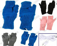 Wholesale 4 Colors Knitting Wool Heated Fingerless USB Gloves Warmer for Women Men C1518 MYY7620