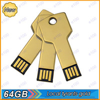 Wholesale 64GB golden key shape USB Flash Memory Pen Drives Sticks Disks Pen drives Custom Logo O047 Y054M