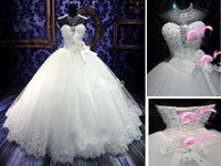 A-Line rhinestone applique - Real Simple Shiny Crystals Wedding Dresses Laciness Handmade Rhinestone pleat Flowers Ball Gown Wedding Gowns White Bridal Dress