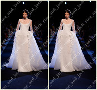 A-Line Model Pictures One-Shoulder 2014 New luxury Detachable Sheer Jewel Neck A-line Floor-Length Long Sleeve Car Bone Lace Nail Bead Pearl Bridal Wedding Dresses GH011