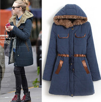 Wholesale 2014 new women winter quilted jacket Europe and America prevalent slim Ladies cotton padded drawstring coat colour S XL