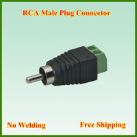 Wholesale RCA male plug to pin Connector RCA MF to terminal Block CAT5 To Camera CCTV Video Balun