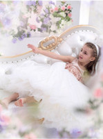 Wholesale 2014 White Princess little girl pageant dresses scoop Neckline Organza A line Sugar Little Girl flower Dresses