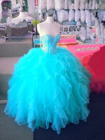 Wholesale 2014 Sweetheart Blue Rhinestone Beads Back Lace Up Tulle Quinceanera Dresses Prom Dresses Ankle length Ball Gown Dresses NO Risk Shopping