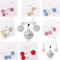 Wholesale Mix Color set silver chain mm Ball Bead necklace amp earrings Shambala set Shamballa Jewelry Set