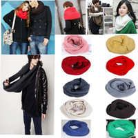 Wholesale Unisex Women Winter Warm Infinity Circle Cable Knit Cowl Neck Long scarf Shawl Christmas gift infinity Scarf