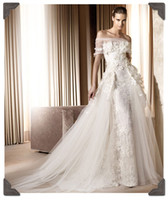 Wholesale New Elie Saab A line Off Shoulder Ivory Lace Wedding Dresses with Hand Made Flowers And Appliques