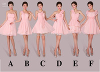 Wholesale 2014 New Arrival Graceful Wedding Party Dresses Charming Strapless Pink Chiffon Prom Bridesmaid Homecoming Dresses