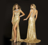Wholesale Arabic Evening Dresses High Collar Long Sleeves Gold Sequins Side Slit Evening Gowns