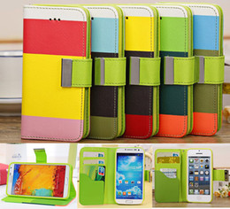 Wholesale Rainbow Cases For iphone C S Samsung Galaxy S4 Note3 Mega Shockproof Flip Wallet Leather Case Cover