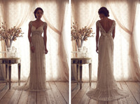 Model Pictures anna pictures - 2015 Vintage Anna Campbell Sheer Crystal Beaded Wedding Dresses V neck Cap Sleeve A Line V Backless Floor Length Full Lace Bridal Gowns