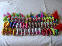 Wholesale 2 quot Different Colourful And Materials Cat Toys w Colourful Feather Red and Gold Green Silver Yellow Body Packed into a Tube