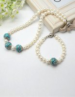 Wholesale Freshwater Pearl Jewelry Sets Necklaces and Bracelets with Handmade Indonesia Beads DarkCyan