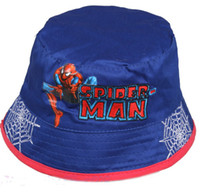 Boy Summer Visor Free shipping wholesale Brand New SPIDER-MAN BUCKET HATS boy cotton cartoon cars cap hat children hats