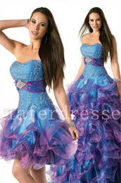 Wholesale 2014 Wonderful Strapless Corset Back Blue Organza Puffy Quinceanera Dresses Detachable Skirt Ruffles Delicate Beads