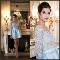 Wholesale 2013 New Arrival Zuhair Murad Light Sky Blue Satin Mini Cocktail Dresses With Sheer Lace Long Sleeves ZH66