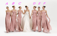 Wholesale 2014 Long Fashion Pleats A Line Cheap Chiffon Wedding Bridesmaid Dresses With Zipper Back Floor Length