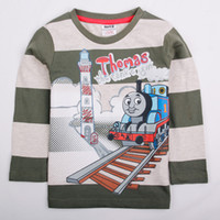 Wholesale A4478 Nova ready made m y baby boys clothes long sleeve T shirts cartoon train printing tees cotton stripe casual plain cheap sweat tops