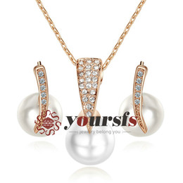 Yoursfs Elegant Fashion Wedding Jewelry Sets Gift Austrian Crystal 18 K Rose Gold Plated Shinning Pearl Pendant Bridal Jewelry Set S275R1